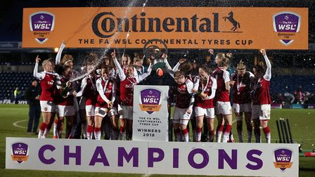 Arsenal Women celebrates winning the Continental Tyres Cup Final at Adams Park, Wycombe.