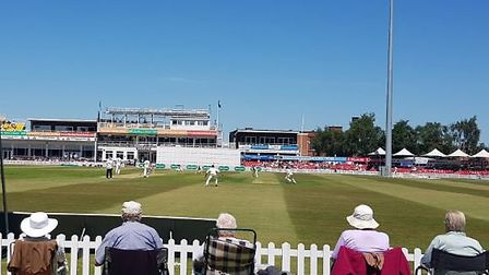 Spectators at Grace Road watch Leicestshire CCC v Middlesex CCC. CREDIT @laythy29