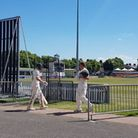 Former Middlesex man Neil Dexter heads to the pavillion while Leicestershire colleague Callum Parkin