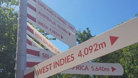 A sgin at Grace Road pointing the wway to the West Indies - as temperatures nduged 30c in Leicesters