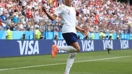 England's Jesse Lingard celebrates scoring his side's third goal of the game during the FIFA World C