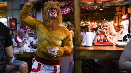 England fans in Nizhny Novgorod celebrate after their match against Panama in the 2018 FIFA World Cu