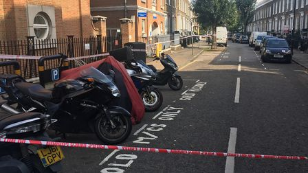 The murder scene in Mitchison Road, Canonbury, in August last year. Picture: James Morris
