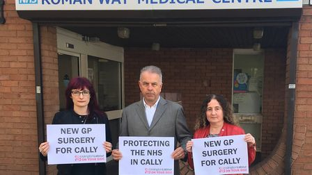 Caledonian Cllrs Sara Hyde, Paul Convery and Una O'Halloran campaigning to save medical services in