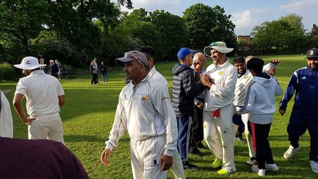 Crouch End players celebrate after defeating Ealing in the second round of the National Club Champio