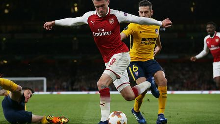 Aaron Ramsey of Arsenal tries to cross with a rabona in the UEFA Europa League game between Arsenal