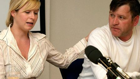Brooke and George Kinsella during the press conference at Islington police station days after Ben's