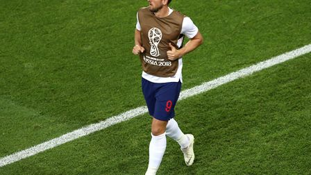 England's Harry Kane warming up on the touchline during the FIFA World Cup Group G match at Kalining
