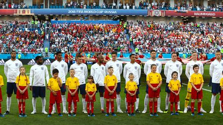 The England team line up with the mascots before the FIFA World Cup Group G match at Kaliningrad Sta
