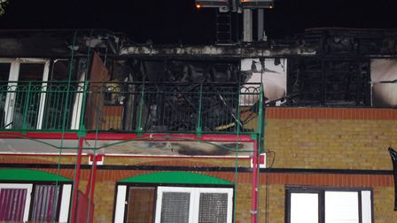 Fire damage to the flats in Dartmouth Park Hill. Picture: London Fire Brigade/Twitter (@LondonFire)