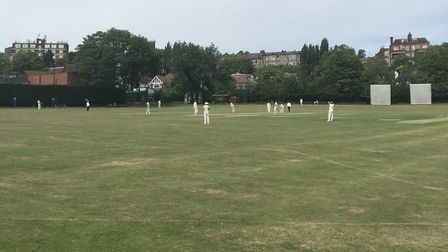 Action from Hampstead's Middlesex County League Premier Division match with Shepherds Bush (pic: Joh