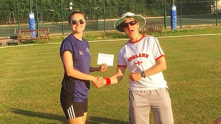 Sally Dixon (left) was inaugural winner of the Hampstead Women's Cricket Club player of the day for