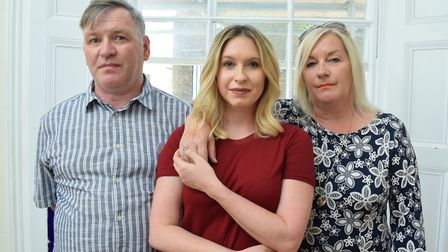 'My parents arent the same. None of us are.' George, Brooke and Deborah Kinsella. Picture: Polly Ha