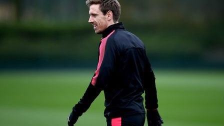 Arsenal's Nacho Monreal during the training session at London Colney. PA