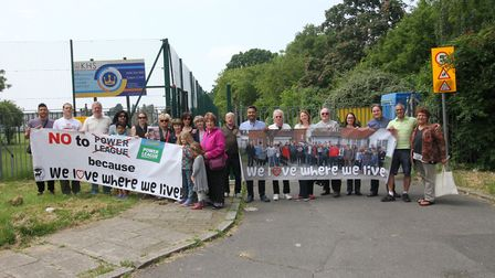 Roe Green Village campaigners outside Kingsbury High School last month. Picture: Debbie Nyman