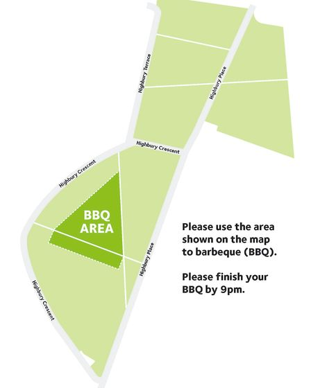 A map of where barbecues will be allowed in Highbury Fields. Picture: Islington Council