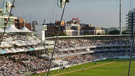 Lord's is bathed in glorious sunshine during Middlesex's T20 Vitality Blast against Surrey. CREDIT @