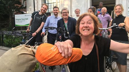 Cycle campaigners including Anita Frizzarin, front, and Cllr Caroline Russell, third left, on the st