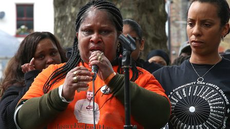 Jessica Plummer, mother of murdered son Shaquan, speaks at a peace march. Picture: CATHERINE DAVISON