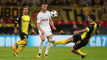 Borussia Dortmund and Arsenal target Sokratis Papastathopoulos battles with Eric Dier for the ball d