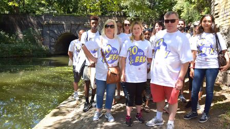 Deborah, Brooke and George Kinsella lead walkers along the canal path from Colebrooke Row at the sta