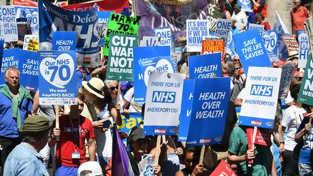 People marched in central London at the weekend to mark the 70th anniversary of the NHS. Picture: JO