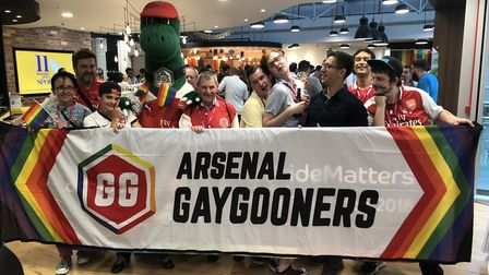 Arsenal's L:GBT+ group the Gay Gooners at Pride in London 2018