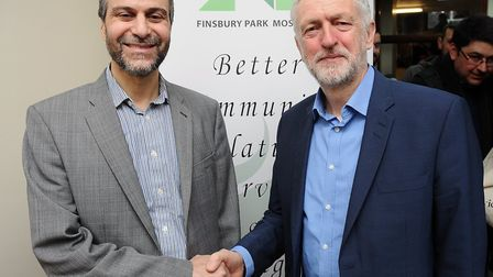 Mohammed Kozbar and Jeremy Corbyn pictured at the Finsbury Park Mosque open day last year. Picture:
