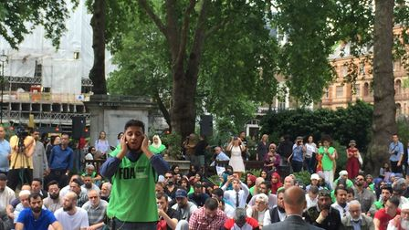 Muslims from across London attended before heading on to the Trump protests. Picture: Lucas Cumiskey