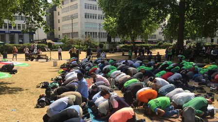 About 200 people took part in the jummah. Picture: Lucas Cumiskey