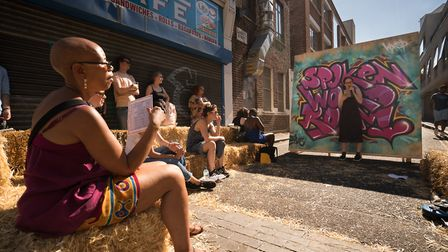 Spoken word artist Hannah Raymond-Cox at the Whitecross Street Party yesterday. Picture: Siorna Ashb