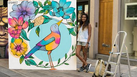 Artist Saroj with her piece 100 Years. Picture: Siorna Ashby