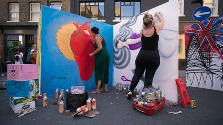 Left, Aranzazu Perez with 'Message of Love to the World'. Right, Vanessa Longchamp with her depictio