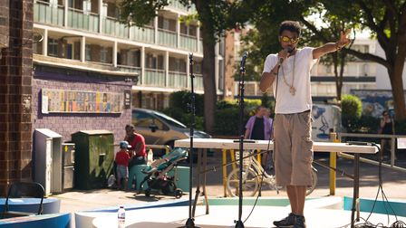 Performance poet The Joshua Street at the Whitecross Street Party on Sunday. Picture: Siorna Ashby