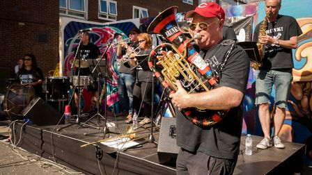 The band Brunk perform at the Whitecross Street Party on Sunday. Picture: Siorna Ashby