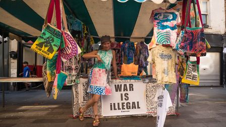 A 'War Is Illegal' stall at the Whitecross Street Party yesterday. Picture: Siorna Ashby