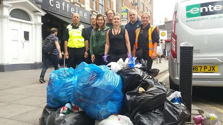 Camden and Brent officers cleaning up Kilburn High Road. Picture: Camden Council