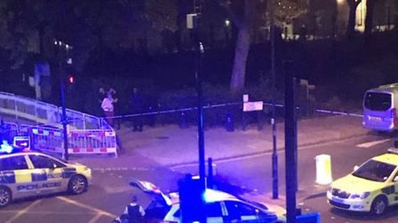 Police at the scene in Goswell Road. Picture: @abdulmukith/Twitter