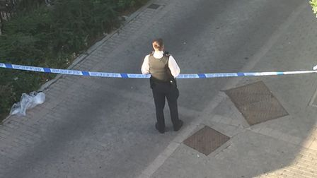 Officers at the scene of the reported stabbing in Tompion Street. Picture: @RoachRule