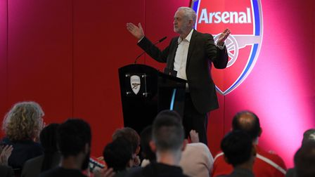 Jeremy Corbyn at the Arsenal in the Community Awards. Picture: Arsenal FC/David Price
