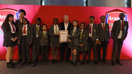 Arsenal legend Pat Rice with young winners at the Arsenal in the Community Awards 2018. Picture: Ars