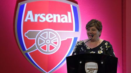 Emily Thornberry speaks at the Arsenal in the Community Awards. Picture: Arsenal FC/David Price