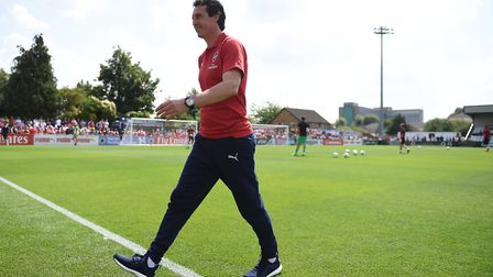 Arsenal manager Unai Emery before the pre-season match at Meadow Park, Boreham Wood.