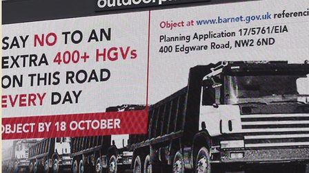 A billboard urging people to object to the super hub in Cricklewood, pictured in more hopeful time