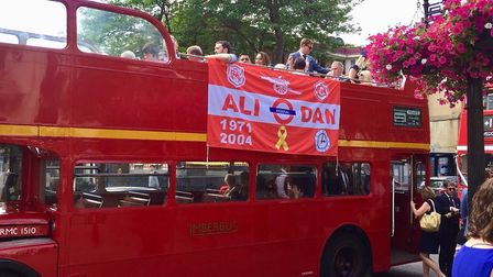 The Arsenal-themed red routemaster bus for 'CoyleFest'