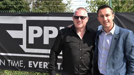 Truck tycoon Adam Hopcroft with sales and marketing director Mark Steel at the opening of PPL's new