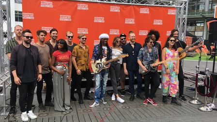 Chic's Nile Rodgers with UK artists at the International Busking Day in Wembley Park (Picture: Natha