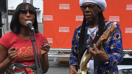 Chic's Nile Rodgers with his singing sidekick Folami (Picture: Nathalie Raffray)