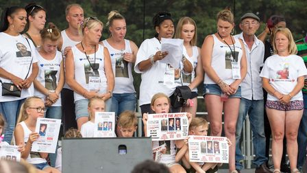 Families of murdered children take to the stage at Quamari's One Love Memorial Festival (Picture: Jo