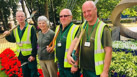 Cllr Burgess and gardeners in Islington Memorial Green. Picture: Islington Council